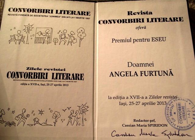 Angela Furtuna Premiul Convorbiri  Literare pentru Eseu editia 2013