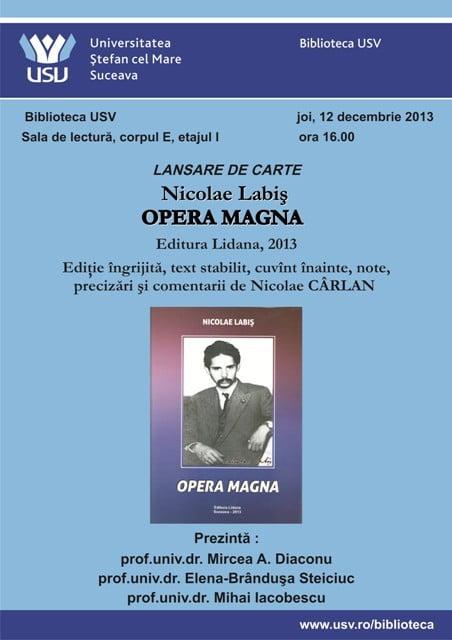 lansare Nicolae Labis Opera Magna