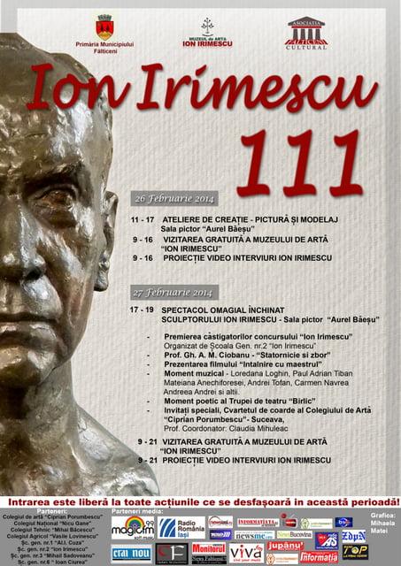 Afis-Ion Irimescu 111-26.27 februarie 2014