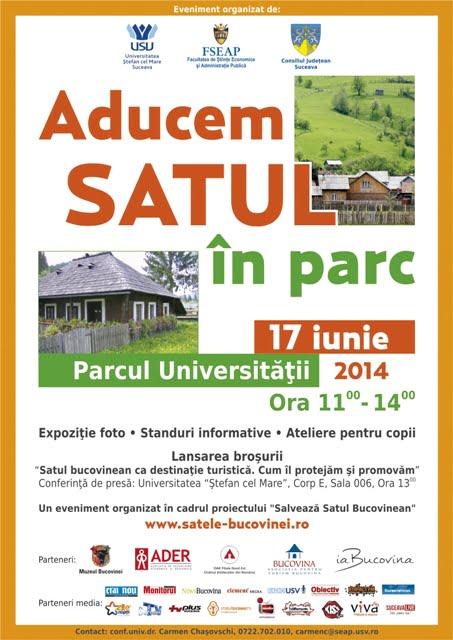 Afis Satul in parc USV 17 iunie  2014