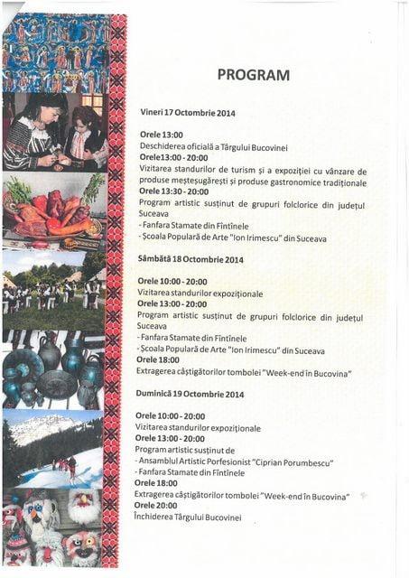 PROGRAMUL TARGULUI BUCOVINEI IASI -2014