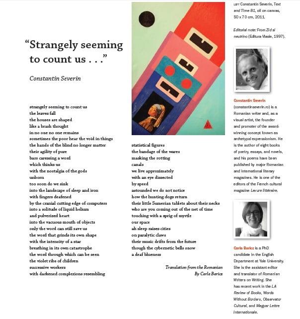 constantin severin in revista americana de literatura