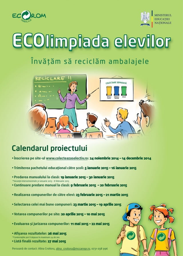 Calendar ECOlimpiada Elevilor