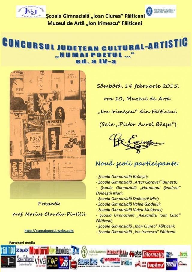 Afis-Concursul judetean cultural-artistic, 'Numai   poetul._.', ed. a IV-a, 14 febr.2015