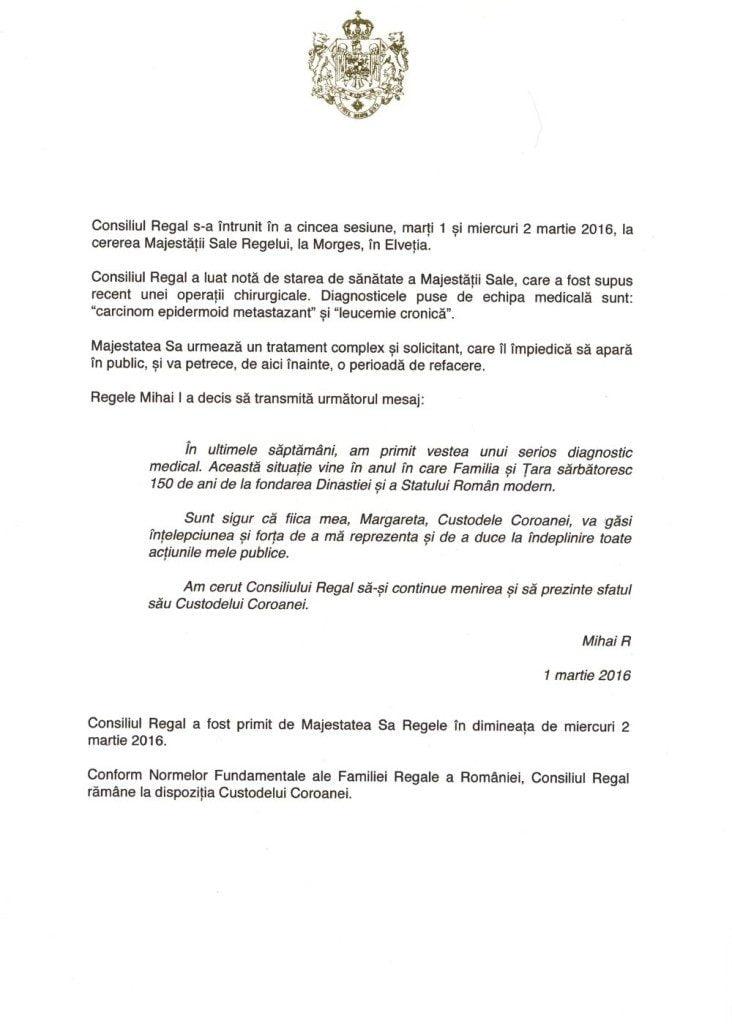Declaratie Consiliul Regal 2martie2016 (A)