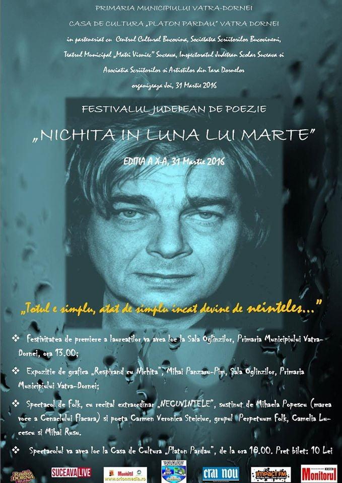 """afis Festivalul Județean de Poezie """"Nichita în luna lui Marte"""" (2)"""