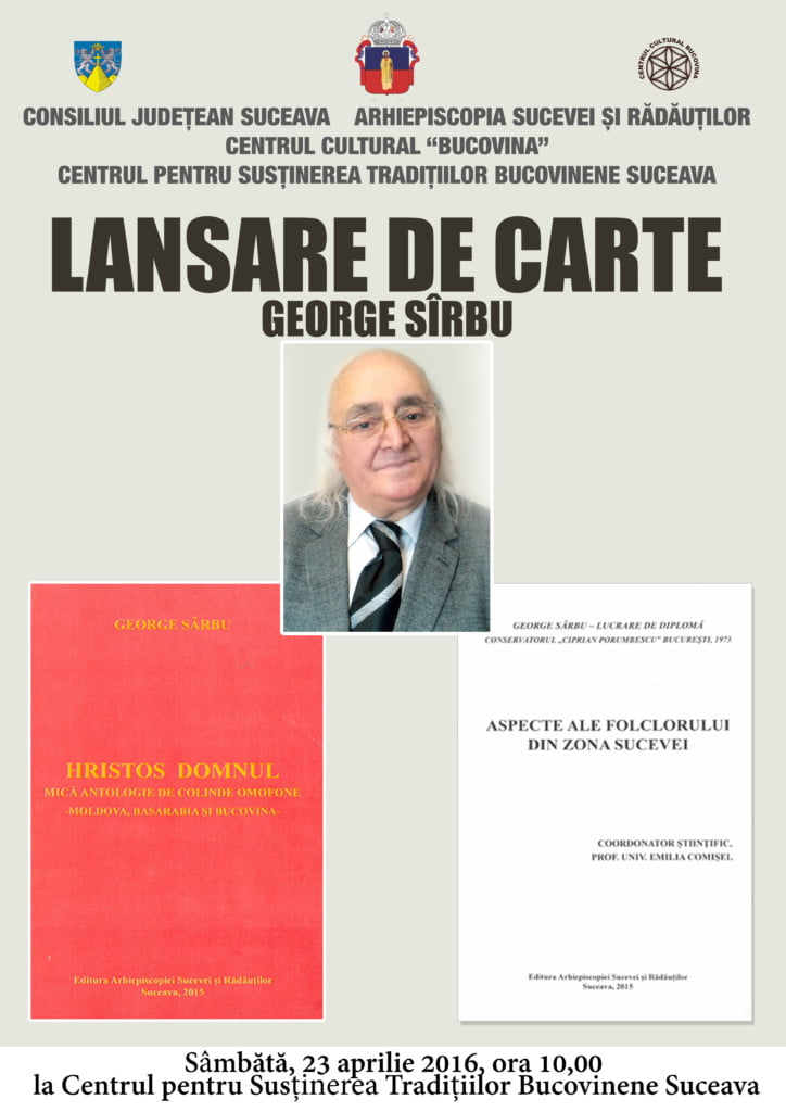 Afis lansare de carte G Sarbu