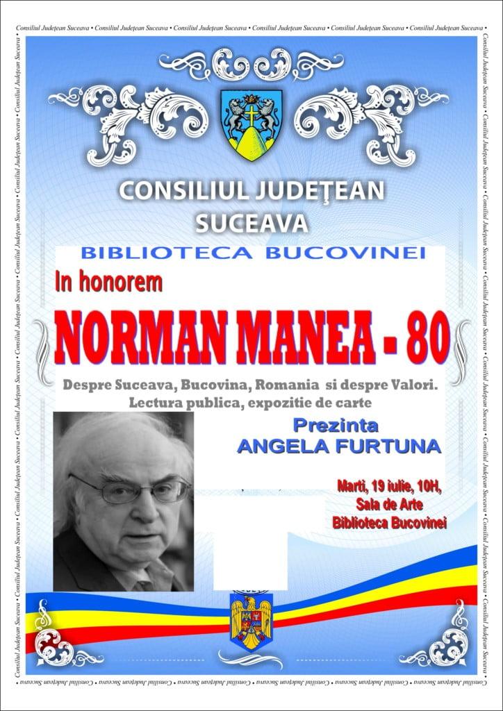afis In honorem Norman Manea 19 iulie