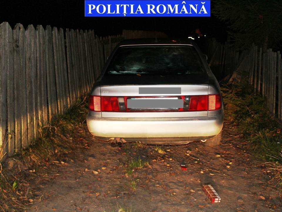 tigari contrabanda, autoturism abandonat la Brodina (1)